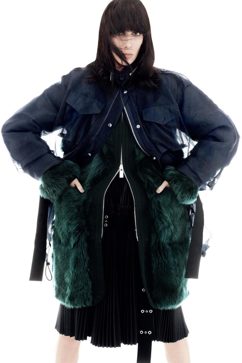 Sacai Hooded Fur Coat