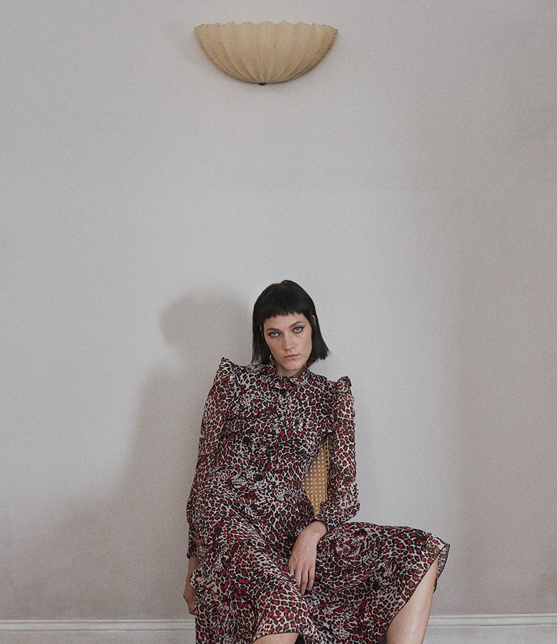Saint Laurent Jaguar-Print Georgette Dress