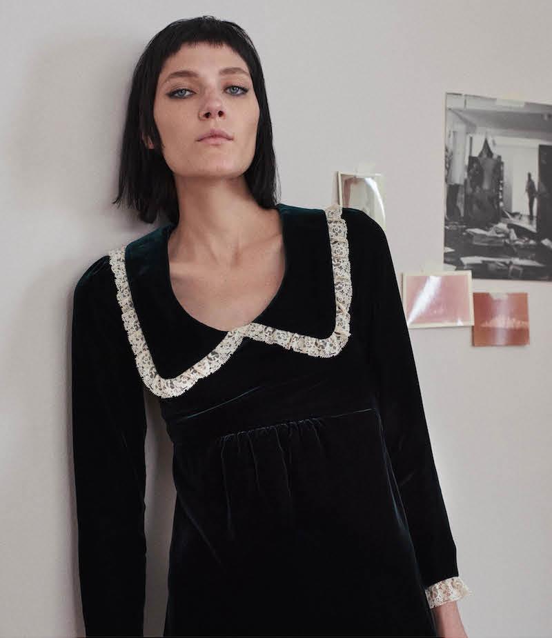 Saint Laurent Lace-Trimmed Babydoll Dress