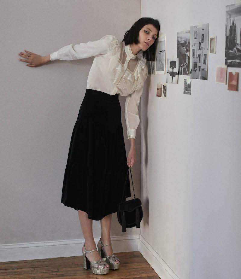 Saint Laurent Tiered Velvet Midi-Skirt