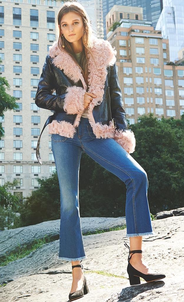 Sandy Liang Pink Shearling Bowery Jacket