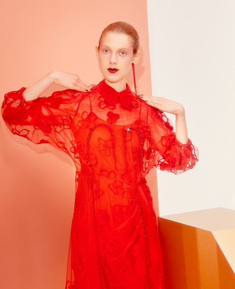 Simone Rocha Spooky Floral Embroidered Dress