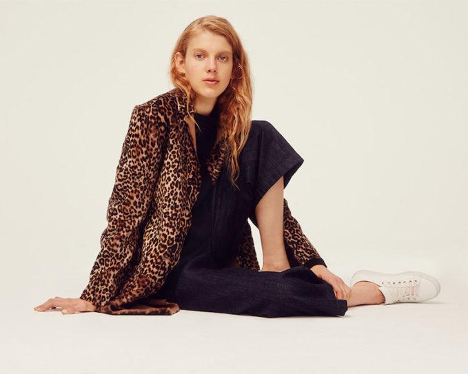 Sofie D'Hoore Reversible Leopard Print Genuine Shearling Coat