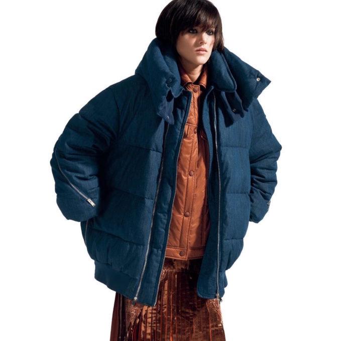 Stella McCartney Long Sleeve Denim Puffer Jacket
