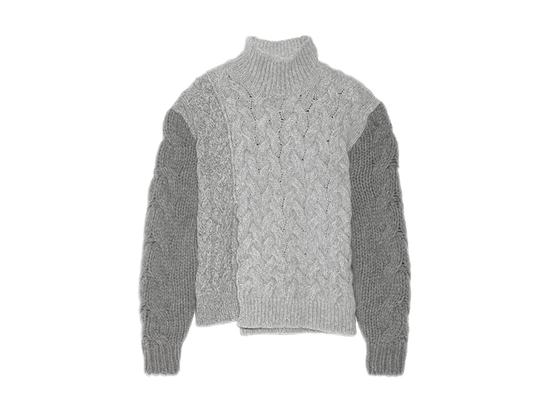 Stella McCartney Mélange Cable Knit Wool Blend Turtleneck Sweater