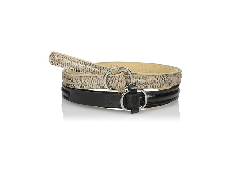 Steve Madden Two For One Belt with Top Stitch Detail and Semi Wrapped Buckle