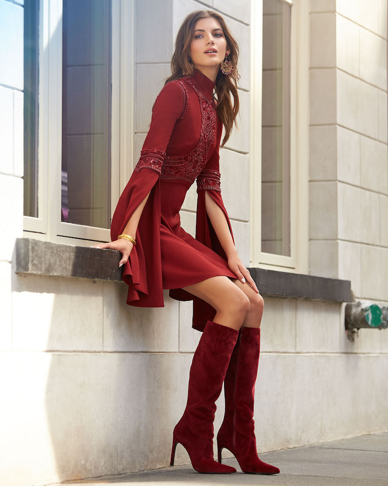 Stuart Weitzman Hyper Pointed-Toe Velvet Knee Boot
