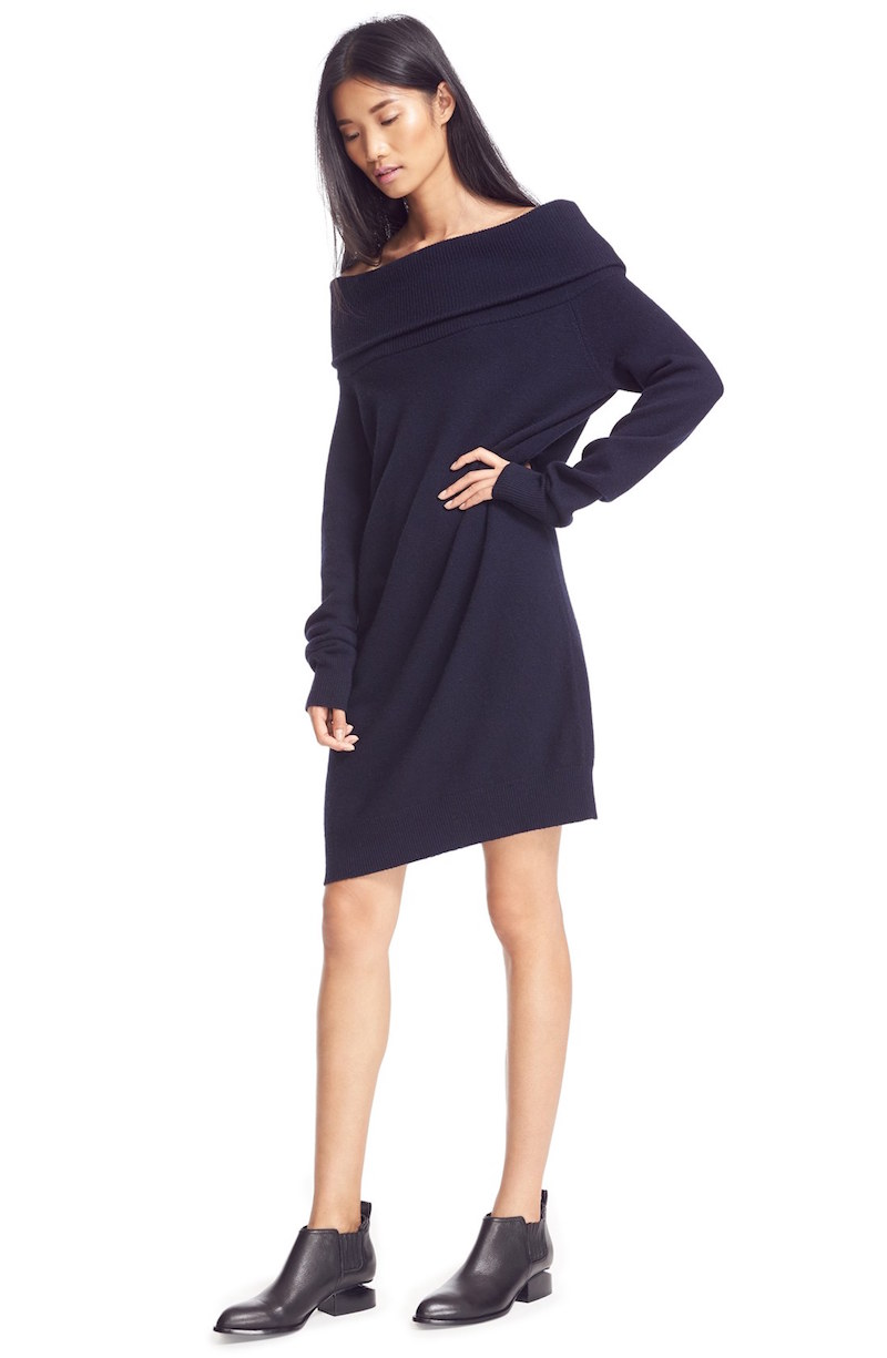 T by Alexander Wang Wool & Cashmere Off the Shoulder Sweater