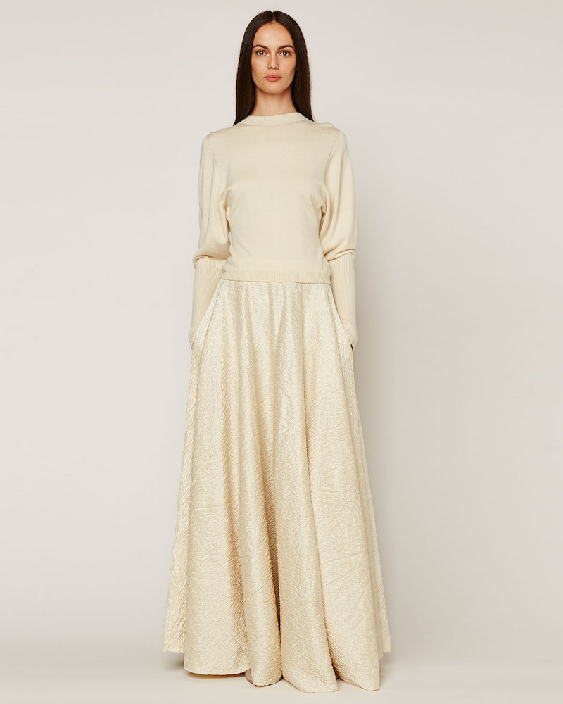THE ROW Lea Textured A-Line Maxi Skirt