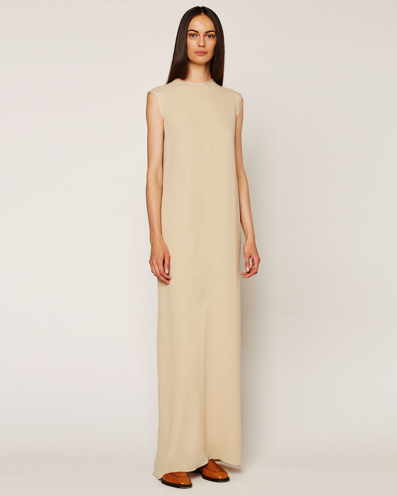 THE ROW Velsi Cap-Sleeve Raw-Edge Maxi Dress