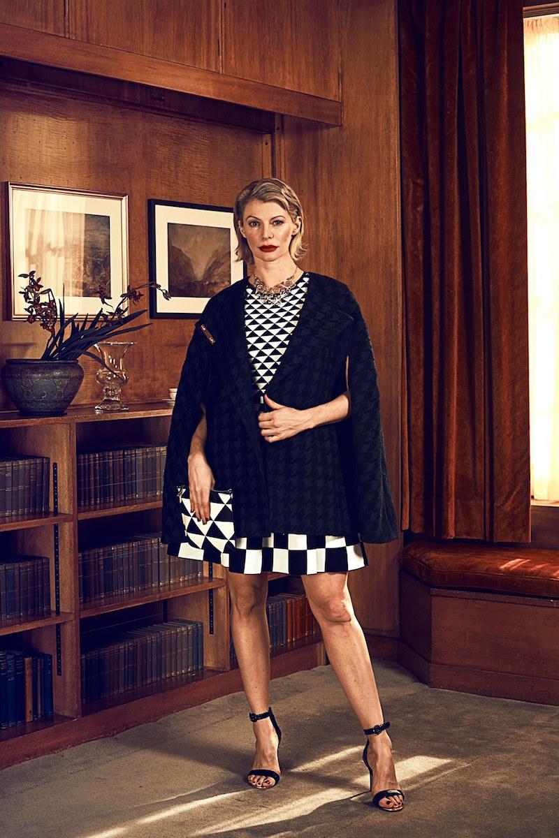 Ted Baker London Monochrome Jacquard Knit Fit & Flare Dress