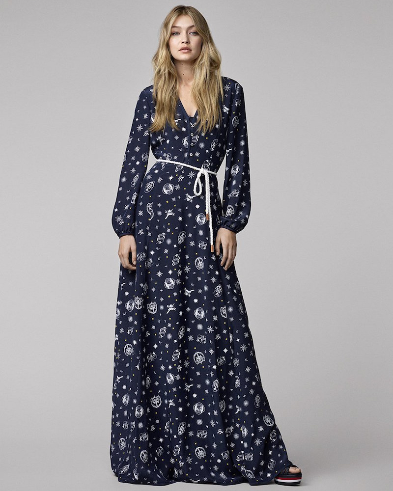 Tommy Hilfiger Gigi for Hilfiger Printed Silk Maxi Dress