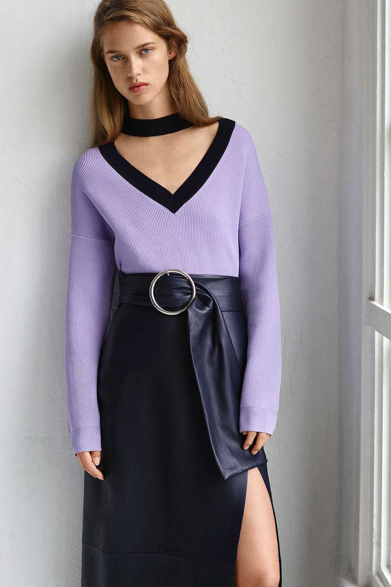 Topshop Boutique Contrast V-choker Neck Jumper