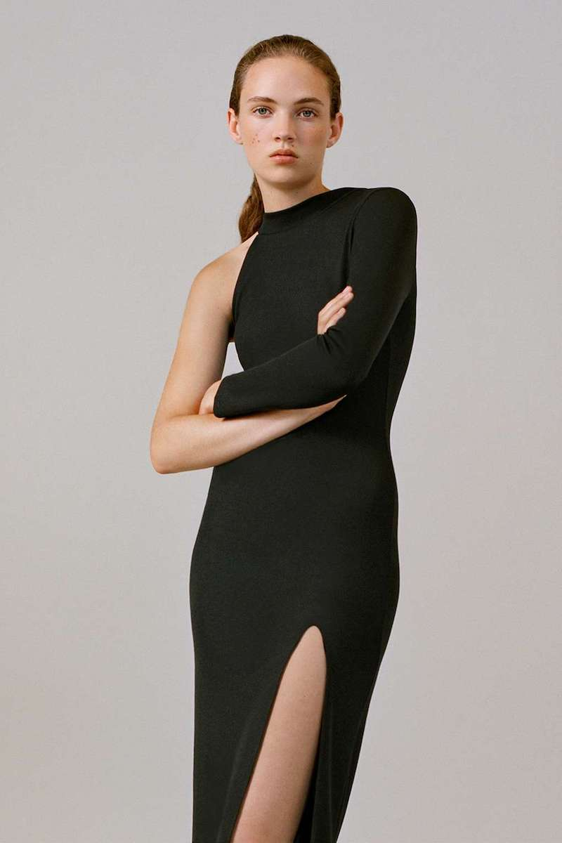 Topshop One Shoulder Ribbed Midi Dress