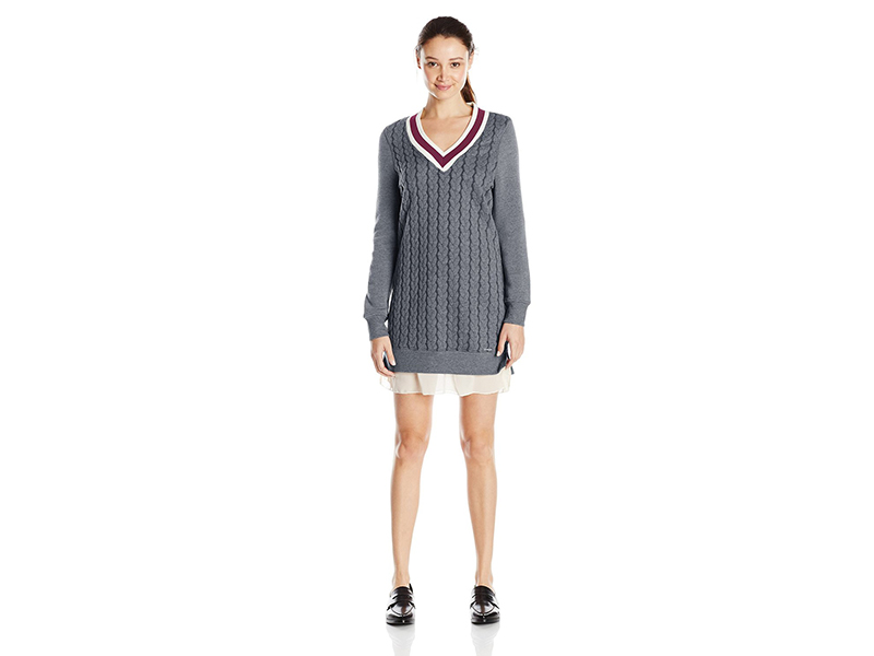 U.S. Polo Assn. Cable Knit V Neck Varsity Dress