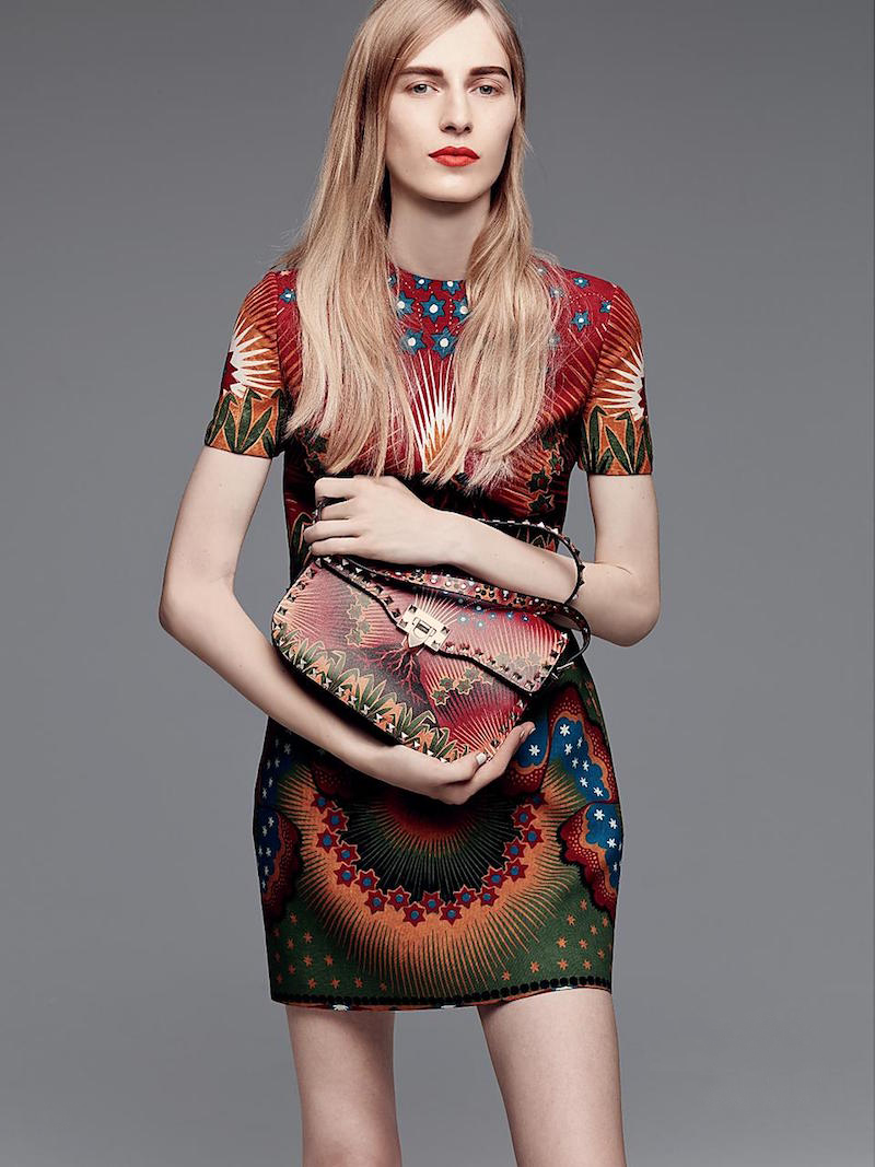 Valentino Printed Short Sleeve Sheath Silk Dress