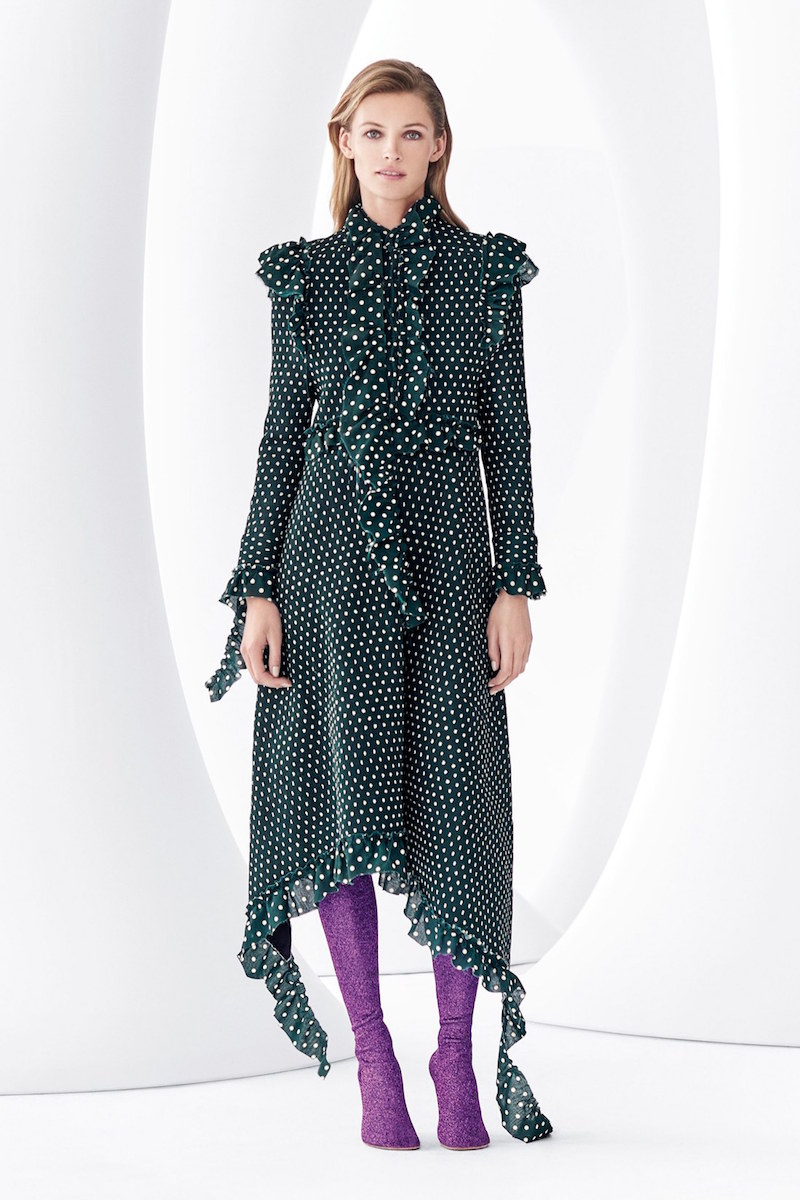Vetements High Neck Frilled Polka Dot Dress
