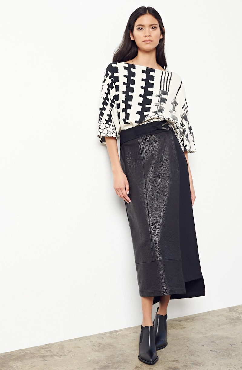 Zero + Maria Cornejo Lambskin Leather & Polartec Wrap Skirt
