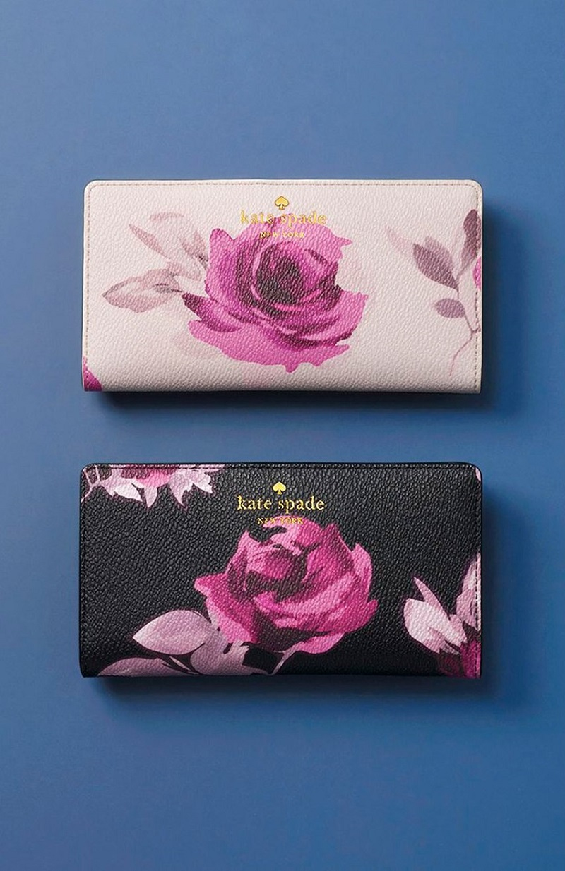 kate spade new york hawthorne lane roses stacy wallet