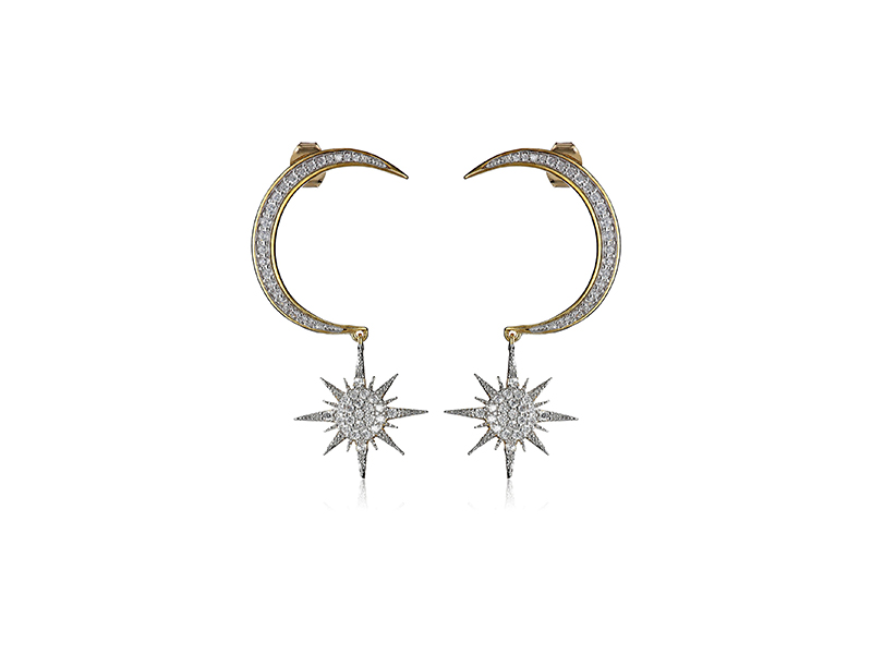 nOir Jewelry Crescent Moon and Starburst Drop Earrings