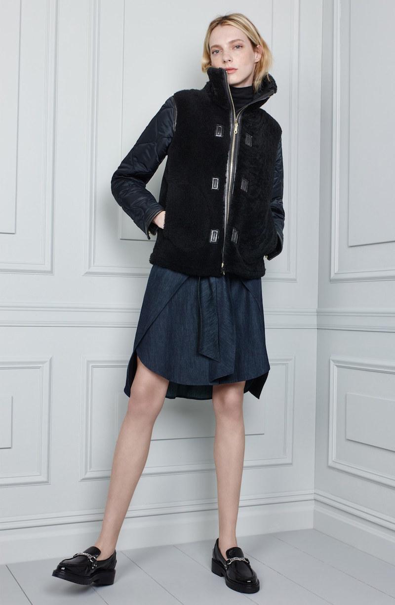 rag & bone Elson Leather Trim Genuine Shearling Liner Jacket