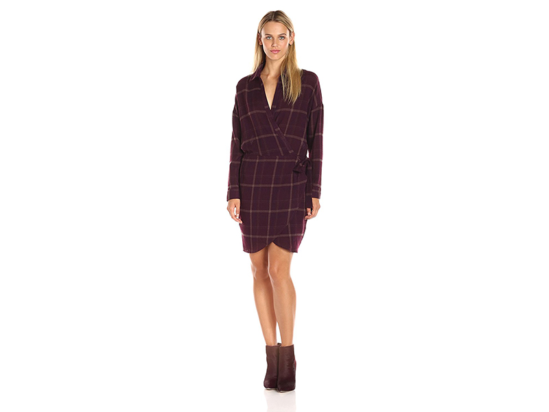 ASTR Rue Plaid Long Sleeve Wrap Dress