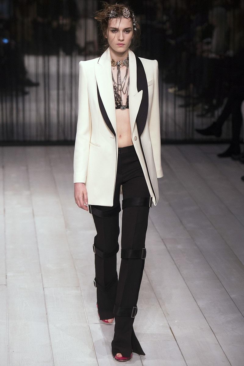 Alexander McQueen Asymmetric-Lapel One-Button Long Coat--