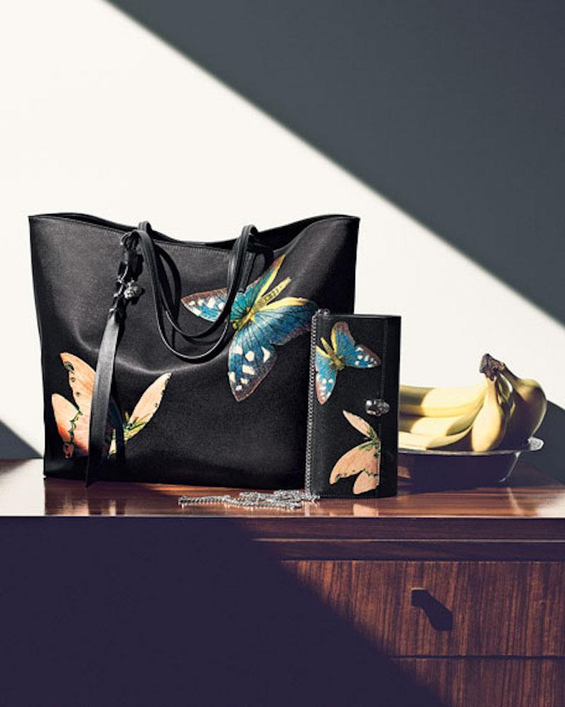 Alexander McQueen Butterfly Satin Skull Tote Bag