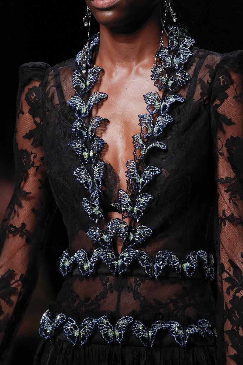 Alexander McQueen Long-Sleeve Embellished-Butterfly Lace Dress-