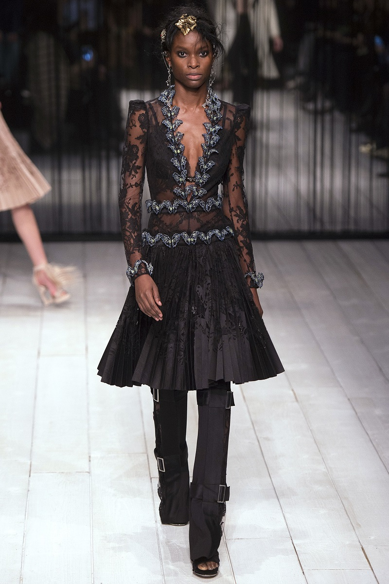 Alexander McQueen Long-Sleeve Embellished-Butterfly Lace Dress