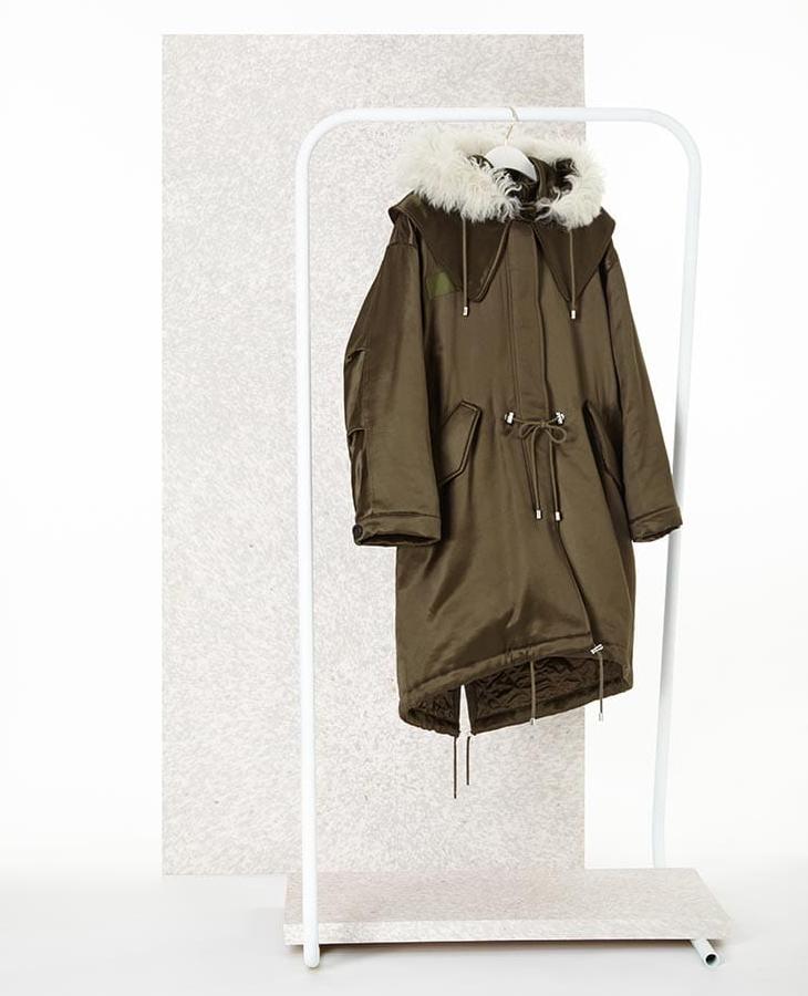 Alexander McQueen Shearling-Trim Satin Parka Coat