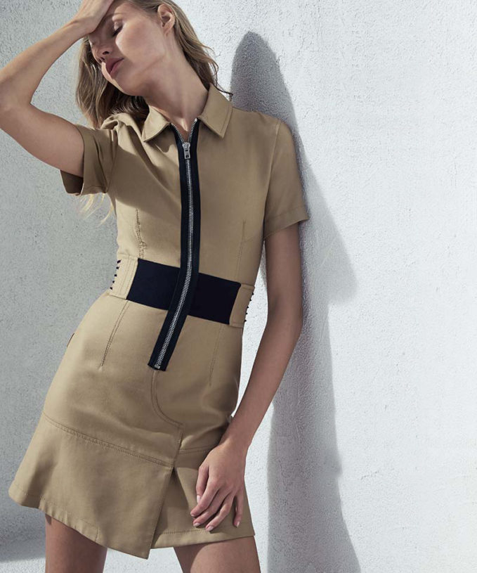 Alexander Wang Short-Sleeve Zip-Front Shirtdress