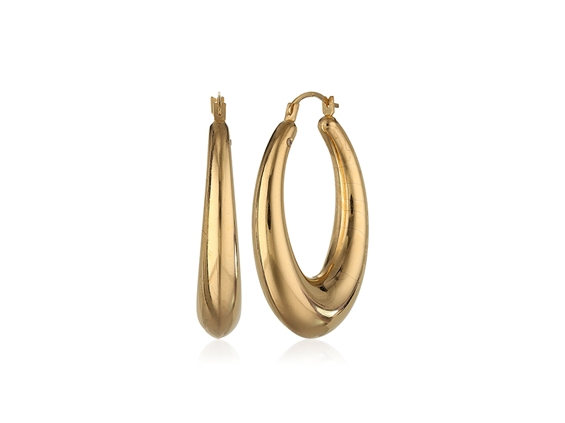 Amazon Collection 14k Yellow Gold Oval Infused with Nano Diamond Resin Hoop Earrings