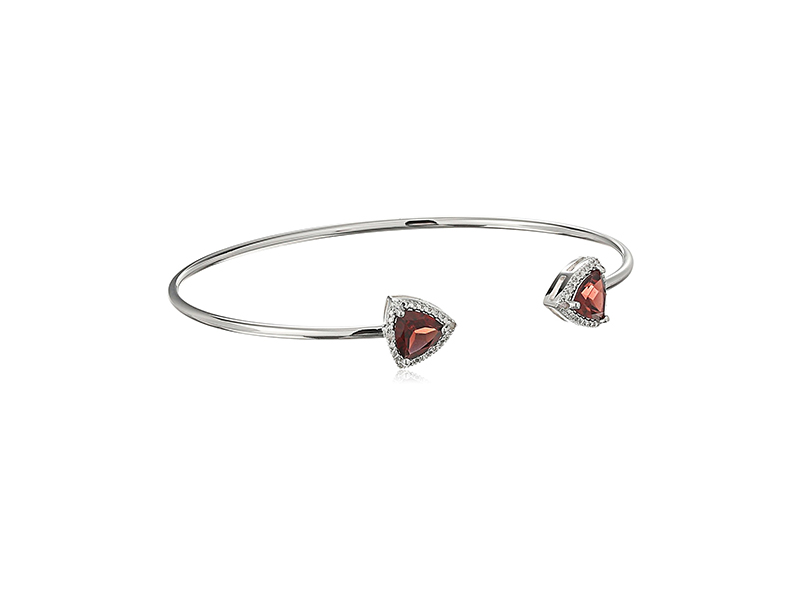 Amazon Collection Diamond with Rhodium Plating Bangle Bracelet