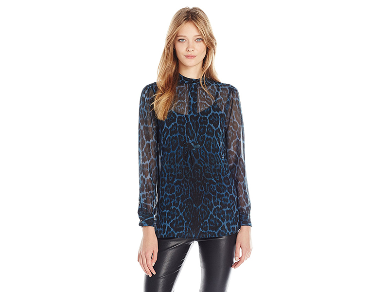 Anne Klein Cheetah Print Long Sleeve Blouse
