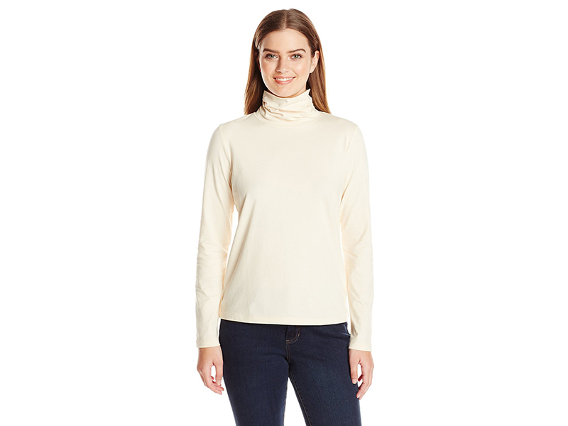 Anne Klein Long Sleeve Solid Jersey Turtleneck