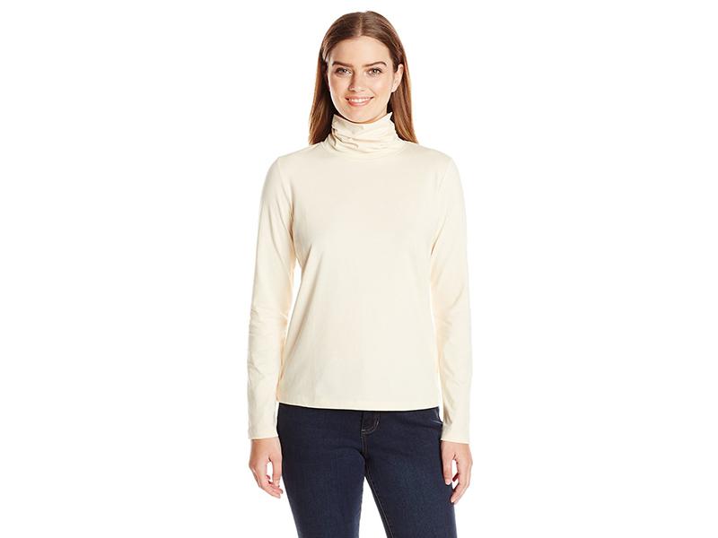 Anne Klein Long Sleeve Solid Jersey Turtleneck