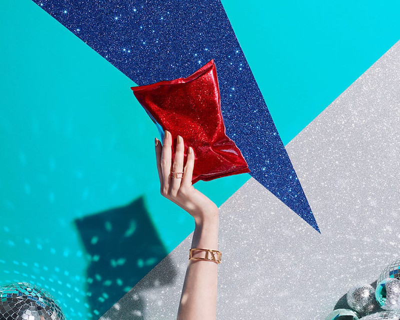 Anya Hindmarch Crisp Packet Glitter Clutch