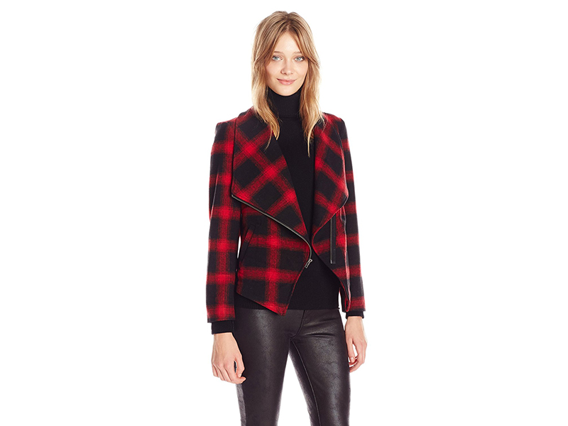 BB Dakota Lilymay Plaid Drape Jacket