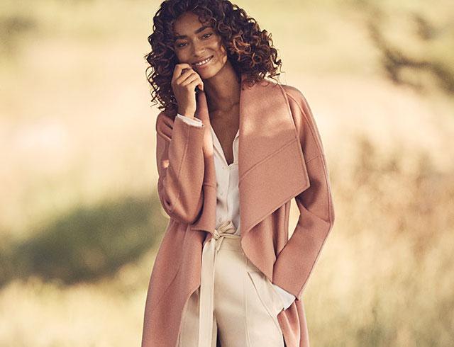 Badgley Mischka Lex Double Face Wool Wrap Coat