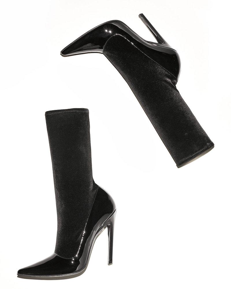 Balenciaga Velvet & Patent Mid-Calf 110mm Boot
