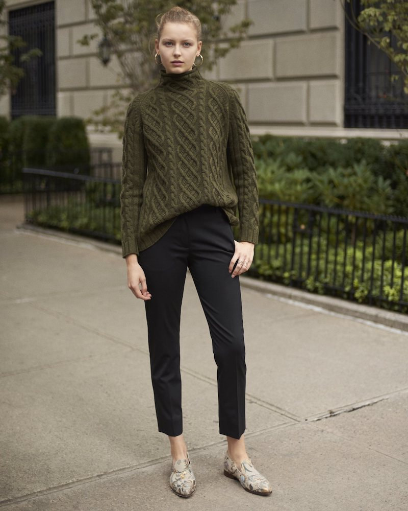 Barneys New York Cashmere Cable-Knit Fisherman Sweater