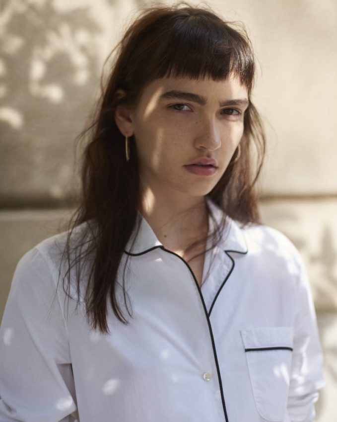 Barneys New York Cotton Pajama-Inspired Shirt