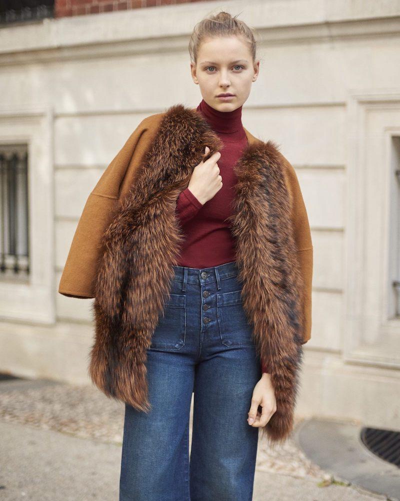 Barneys New York Fur-Front Wool-Cashmere Coat