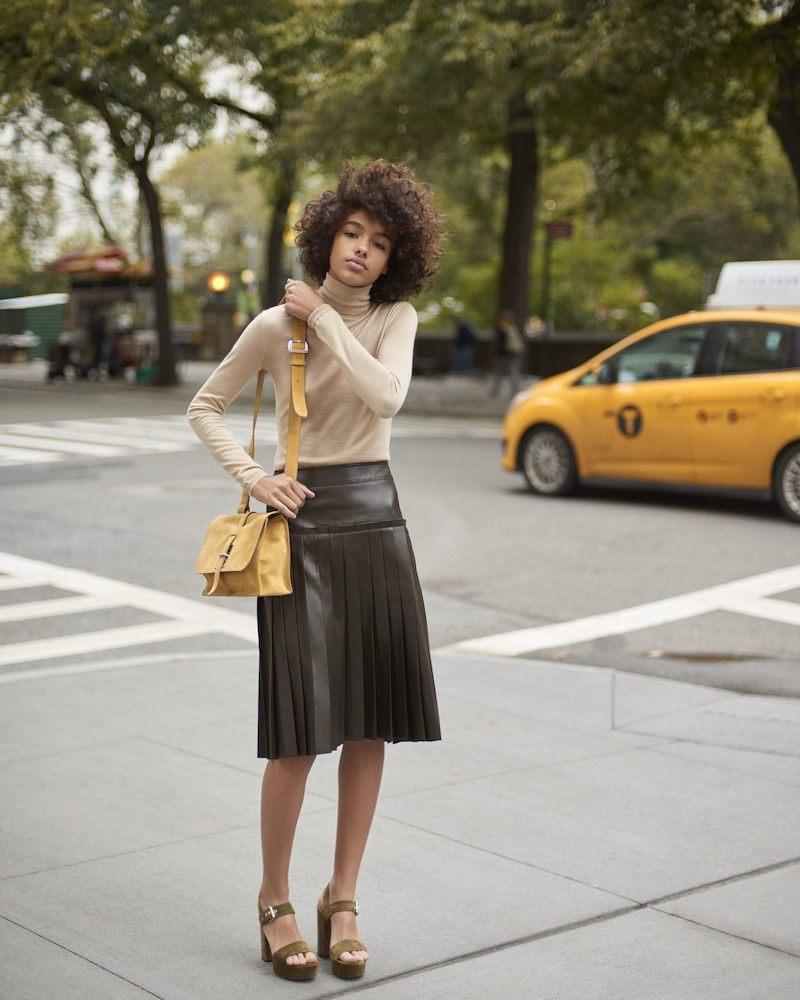 Barneys New York Leather Pleated A-Line Knee-Length Skirt