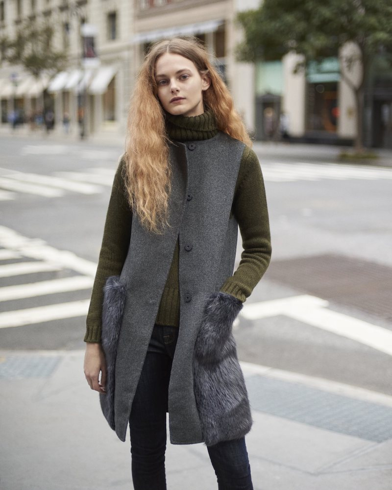 Barneys New York Wool-Cashmere Long Vest