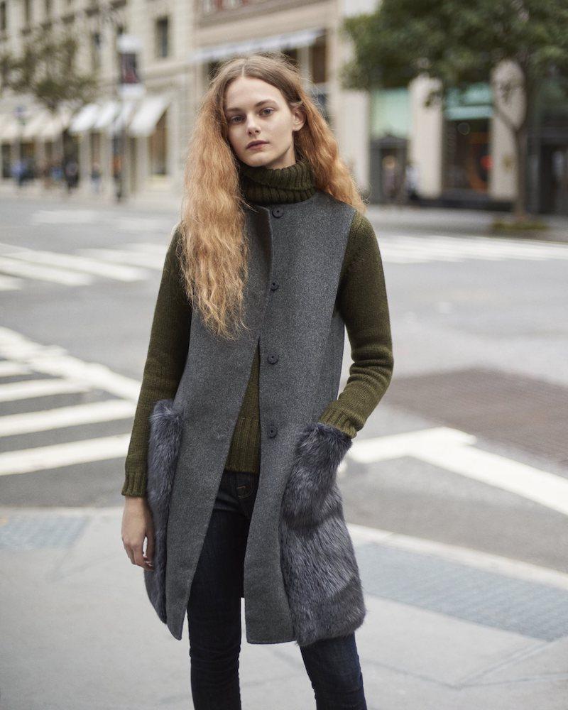 Barneys New York Wool-Cashmere Long Vest