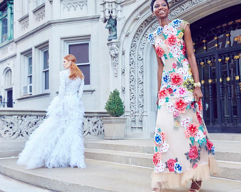 Basix Black Label Floral Applique Mermaid Gown