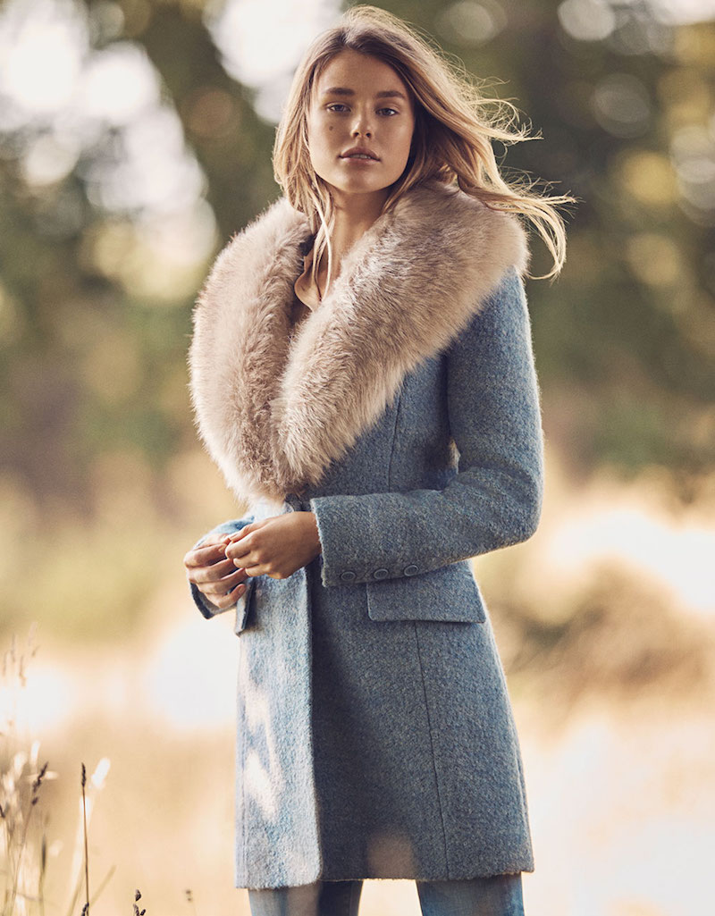 Belle Badgley Mischka Holly Wool Boucle with Faux Fox Fur Collar