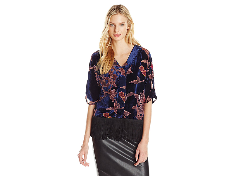 Buffalo David Bitton Dafina Velvet Burnout Wide Sleeve Kimono Blouse